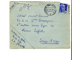 ENV. POSTE AUX ARMEES 28.01.1955 - GANDON 15f BLEU - FLAMME REGLEMENT COURRIER - 216 - Marcophilie (Lettres)