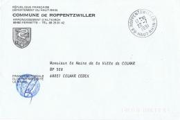 OIS-L54 - FRANCE Lettre En Franchise Postale De La Commune De Roppentzwiller, Blason Avec Oie Stylisée