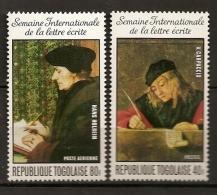 Togo 1975 N° 851 + PA 264 ** Tableau, Lettre Ecrite, Manuscrit, Tapisserie, Plume, Ecriture, Hans Holbein, Carpaccio - Togo (1960-...)