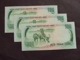 Collection Of 03 South Vietnam Viet Nam 100 Dong AU Buffalo Consecutive Banknotes 1972 - P#32 / 02 Images - Vietnam