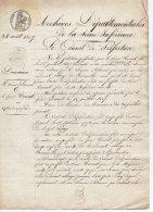 NAPOLEON 1er - VENTE DOMAINES - DARCEL - TORCAT - EMPIRE - 1807 - TIMBRE ROYAL 1f25 - TIMBRE SEC - CACHET PREFET - 111 - Fiscali