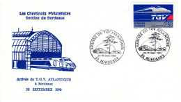 Enveloppe Philatélique - Arrivée Du TGV à Bordeaux (33) - 1990 - 1990-1999