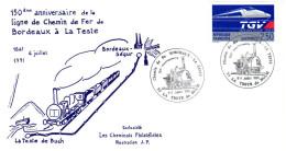 Enveloppe 150 Ans Ligne Chemin De Fer Bordeaux - La Teste -  1991 - 1990-1999