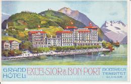 MONTREUX -TERRITET - GRAND HOTEL EXCELSIOR&BON PORT - ILLUSTRATION - N/C - TB - VD Vaud