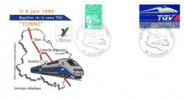 Enveloppe Philatélique Cheminots - TGV Yonne Baptême - 1998 - Migennes (89) - FDC