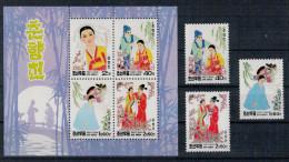 COREA  DEL NORD  1998   TALE OF CHUNG HYANG   SET X 3 + 1 SHEET    MNH ** - Korea, North