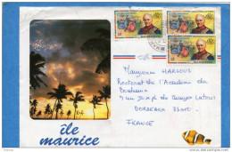 MARCOPHILIE-lettre-Mauritius- 1987 Afft 3 Timbres N°879 Bal Du Gouverneur - Maurice (1968-...)