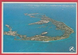 CPM *Bermudes *1988 * WESTERN VIEW Of BERMUDA From The Air * Stamp Navire  MARY CELESTIA * SUP=>Sca Recto/verso - Bermudes
