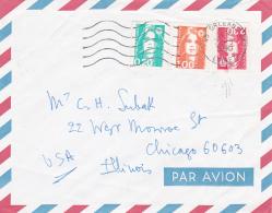 Marianne BRIAT  Sur Lettres Avion > Les USA Variété Trace Essuyage - Abarten Und Kuriositäten