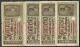 Germany  Occupation 1941-1944 Bank Note 20 Reichsmark 4 Exemplares - Besatzungsgebiete In Deutschland
