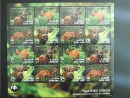 Sierra Leone 2014 WWF - Western Bongo Value Le 3900 Complete Sheet - W.W.F.