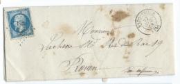 LETTRE 20 C EMPIRE  BACQUEVILLE  A  ROUEN   GC - 1849-1876: Classic Period