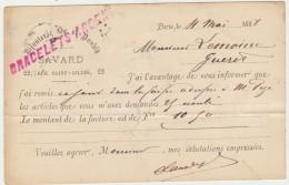 PARIS--CARTE PUBLICITAIRE-BIJOUTERIE SAVARD-22 RUE SAINT GILLES-1888-VOIR SCANNER - Andere