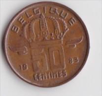 BELGIQUE BAUDOUIN  50 CENTIMES  BRONZE MONETAIRE TYPE MINEUR  ANNEE 1983 (française)  LOT N°240 - 03. 50 Centiem