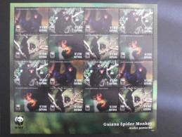 Guyana 2014 WWF - Guyana Spider Monkey - Value $ 180 Complete Sheet - W.W.F.