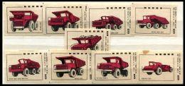 Russia Soviet Union 1975 Machbox Labels Trucks BELAZ Zündholzschachteletiketten - Scatole Di Fiammiferi - Etichette