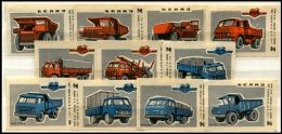 Russia Soviet Union 1974 Machbox Labels Trucks MAZ & BELAZ Zündholzschachteletiketten - Zündholzschachteletiketten