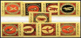 Russia Soviet Union 1975 Machbox Labels Reiseflugzeuge Air Planes For Passenger Zündholzschachteletiketten - Luciferdozen - Etiketten