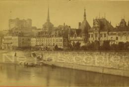 SAUMUR C.1880 Les Quais La Ville Photo Par Emile Giard Maine--et-Loire 49 - Lieux