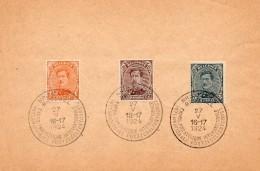 Belgique Albert I : N°135,136,137 Sur Petite Feuille Avec Oblitération Exposition Philatélique Bruxelles - 1915-1920 Alberto I