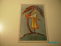 ESTONIA , ETHNIC  WOMAN IN FOLK COSTUME WITH EASTER EGGS , ART DECO  ART NOVEAU  , OLD POSTCARD , 0 - Illustratori & Fotografie