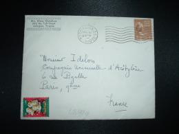 LETTRE TP USA 1 1/2 C OBL.MEC. DEC 8 1950 WASHINGTON D.C. + VIGNETTE 1950 GREETINGS - Erinnofilia