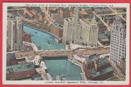 CPA * USA * CHICAGO * Aero View Of Michigan Ave.? Wrigley Tribune Tower *SUP=>Scan Recto/verso - Chicago