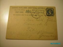 1907 BRITISH INDIA POSTAL STATIONERY POSTCARD KOLHAPUR  TO  TÜBINGEN  GERMANY - Postales