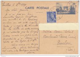 Au Plus Rapide Complément Affranchissement Mercure Sur Entier Guerre W2 Souillac Lot Pour Toulon 6 Décembre 1939 - Biglietto Postale