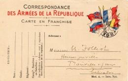 1914 - Carte De Correspondance Des Armées De La République - Carte En Franchise - 4 Drapeaux - Secteur Postal 158 - Cartes De Franchise Militaire