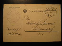 KAADEN 1906 To Brunnersdorf DECANALAMT Postage Paid Cancel Card Czechoslowakia Germany Austria - Tchécoslovaquie