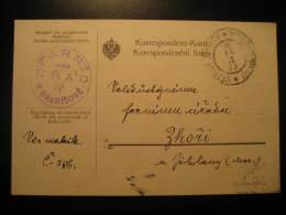 VETRNY JENIKOV 1912 To Zhori FARNI URAD V BRANISOVE Postage Paid Cancel Card Czechoslowakia Germany Austria - Tchécoslovaquie