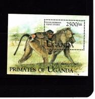 1999 Uganda  Monkeys Primates  Miniature Sheet  MNH - Uganda (1962-...)