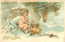 JOYEUX NOËL - ENFANT- CPA ILLUSTREE GAUFFREE - DOREE. - Navidad