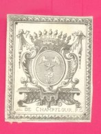 """EX-LIBRIS ANCIEN - """" DE CHAMPFLOUR P.G. """" - FORMAT (6 X 8,5 Cm) ; - Ex-libris"""