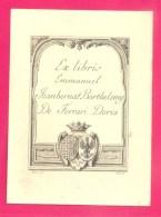 """EX-LIBRIS ANCIEN - """"EMMANUEL JEANBERNAT BARTHELEMY DE FERRARI DORIA """" - FORMAT (9 X 12 Cm) ; - Ex Libris"""