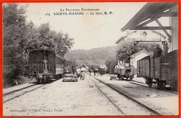 CPA 83 Ste SAINTE-MAXIME Var - LA GARE S.F. ° La Provence Pittoresque: Gattus édit. Photo Bacchi Fréjus * Train Wagons - Sainte-Maxime