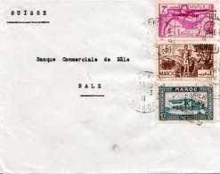 MAROC 1941 - 3 Fach Frankierung Auf Brief Gel.n. Bale - Marokko (1891-1956)