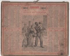 CALENDRIER  /  ALMANACH   1893  -  Dessin Illustrateur  HUYOT - Calendriers