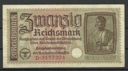 Deutschland Occupation Bank Note 20 Reichsmark Serie D - [ 9] Duitse Bezette Gebieden