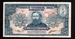 HC - 1952 - PARAGUAY - 5 GUARANIES - CHAMORRO / STORM - SMALL SIGNS -  PICK # 152 - Paraguay