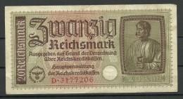 Deutschland Occupation Bank Note 20 Reichsmark Serie D - [ 9] Territoires Allemands Occupés