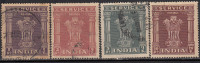 4 High Values,  Star Watermark Service Used, India 1951 -1951, Official, (Sample Image) - Timbres De Service