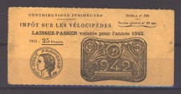 France  -  Vélocipèdes  :  Précurseur De 1942 - Fiscale Zegels