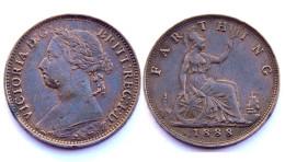 Farthing 1888 Grande Bretagne. Victoria - 1816-1901 : Frappes XIX° S.