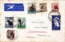 SÜDAFRIKA 1956 - 7 Fach Frankierung Auf LP-Brief Gel.v.Cape Town > Berlin-Neukoelln - Südafrika (...-1961)