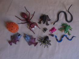 Petit Lot De 8 Animaux En Plastique - Poissons, Grenouilles, Serpents, Araignée - Poissons