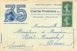 Guerre 14-18, Carte Postale Du 75, Les Vainqueurs De Demain, Affranchie Destination Suisse, Pas Courante - Guerre 1914-18