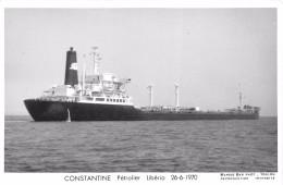 """Carte-Photo D´un Bateau De Commerce  -  Le Pétrolier Du Libéria  """" CONSTANTINE """" En 1970  -  Voir Description  -  ¤¤ - Pétroliers"""