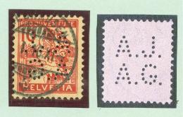 Schweiz Pro Juventute 1915 Zu#PJ3 Perfin A.J./A.G. #A028 - Pro Juventute